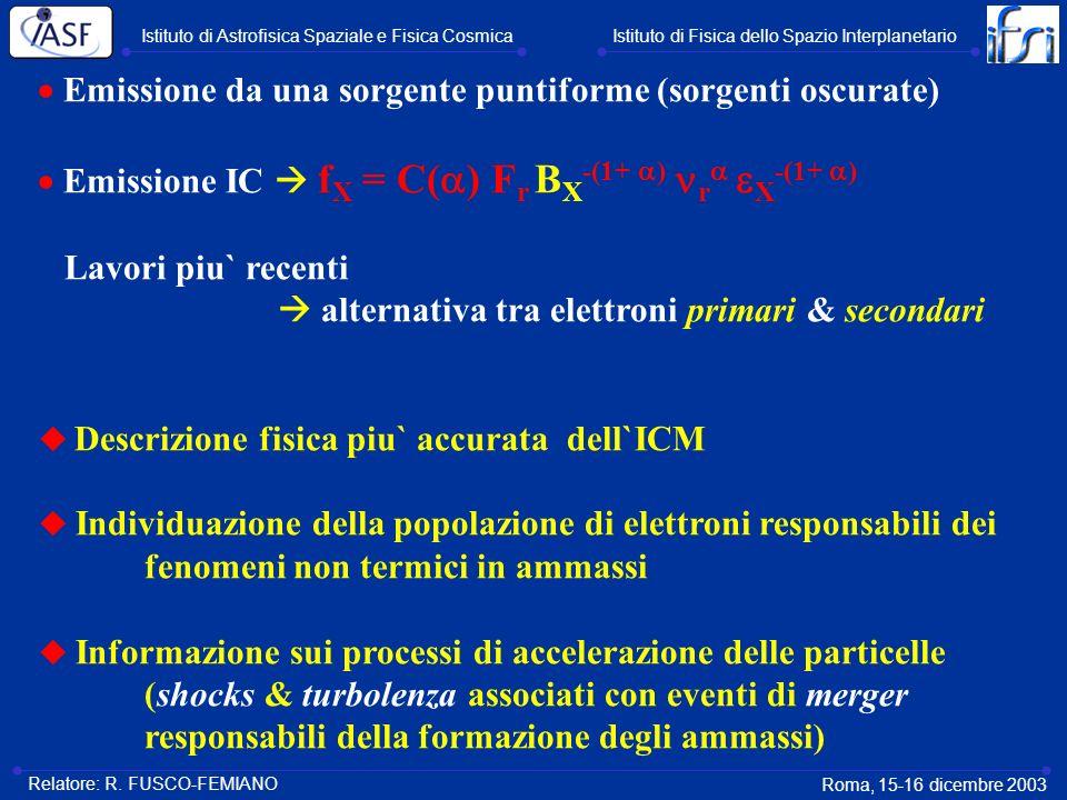 Emissione da una sorgente puntiforme (sorgenti oscurate) Emissione IC f X = C( ) F r B X -(1+ ) r X -(1+ ) Lavori piu` recenti alternativa tra elettro