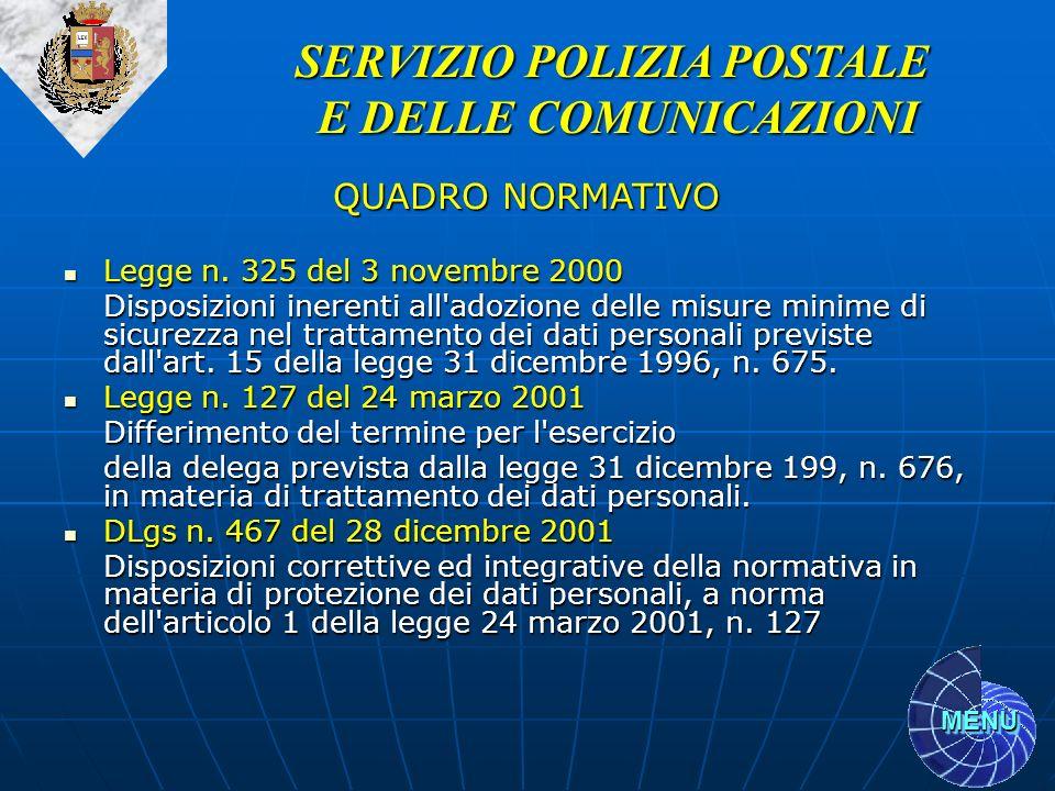 MENU Legge n. 325 del 3 novembre 2000 Legge n. 325 del 3 novembre 2000 Disposizioni inerenti all'adozione delle misure minime di sicurezza nel trattam