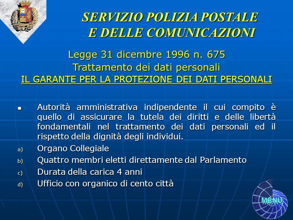 MENU Autorità amministrativa indipendente il cui compito è quello di assicurare la tutela dei diritti e delle libertà fondamentali nel trattamento dei