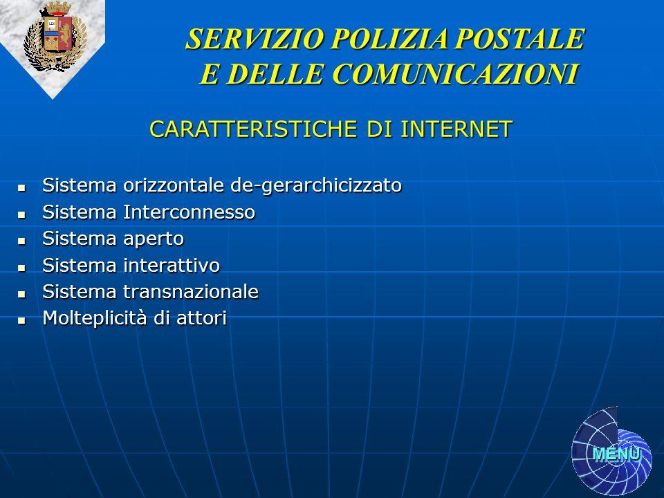 SERVIZIO POLIZIA POSTALE E DELLE COMUNICAZIONI CARATTERISTICHE DI INTERNET Sistema orizzontale de-gerarchicizzato Sistema orizzontale de-gerarchicizza
