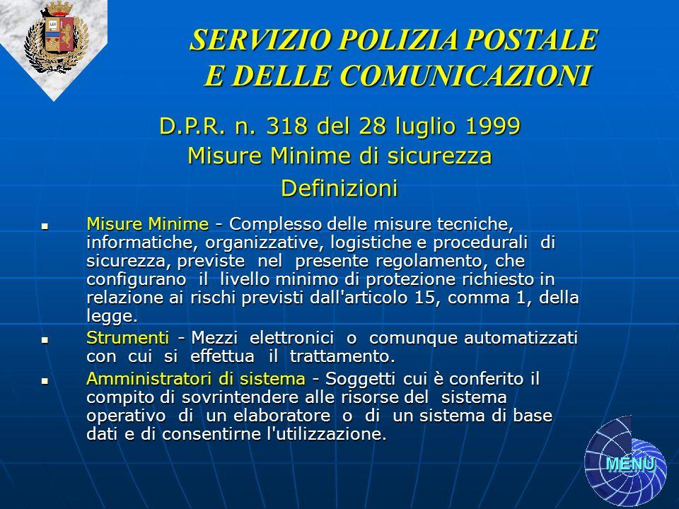 MENU Misure Minime - Complesso delle misure tecniche, informatiche, organizzative, logistiche e procedurali di sicurezza, previste nel presente regola