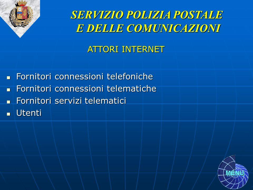 MENU SERVIZIO POLIZIA POSTALE E DELLE COMUNICAZIONI ATTORI INTERNET Fornitori connessioni telefoniche Fornitori connessioni telefoniche Fornitori conn