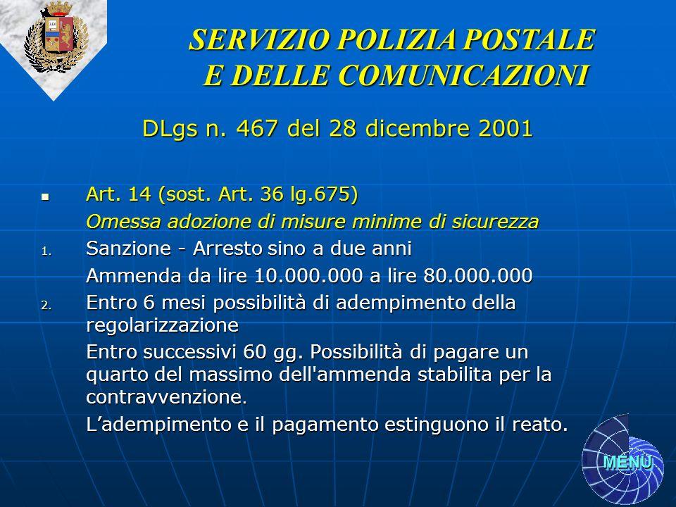 MENU Art. 14 (sost. Art. 36 lg.675) Art. 14 (sost. Art. 36 lg.675) Omessa adozione di misure minime di sicurezza 1. Sanzione - Arresto sino a due anni