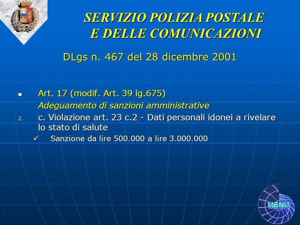 MENU Art. 17 (modif. Art. 39 lg.675) Art. 17 (modif. Art. 39 lg.675) Adeguamento di sanzioni amministrative 2. c. Violazione art. 23 c.2 - Dati person
