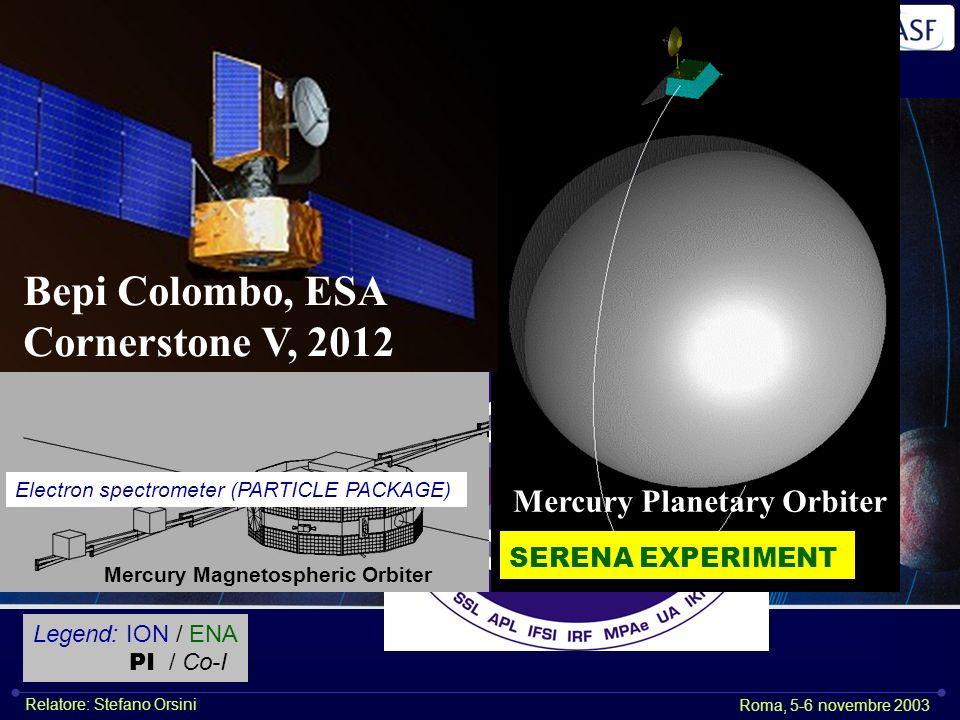Istituto di Astrofisica Spaziale e Fisica CosmicaIstituto di Fisica dello Spazio Interplanetario Roma, 5-6 novembre 2003 Relatore: Stefano Orsini CLUSTER – CIS 2 2001 DOUBLE STAR – ESIC 2004 ASPERA-3, 2003 VENUS EXPRESS ASPERA-4, 2005 Mercury Planetary Orbiter Bepi Colombo, ESA Cornerstone V, 2012 Mercury Magnetospheric Orbiter SERENA EXPERIMENT Electron spectrometer (PARTICLE PACKAGE) Legend: ION / ENA PI / Co-I