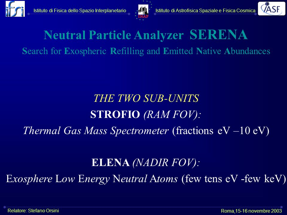 Neutral Particle Analyzer SERENA Search for Exospheric Refilling and Emitted Native Abundances THE TWO SUB-UNITS STROFIO (RAM FOV): Thermal Gas Mass S