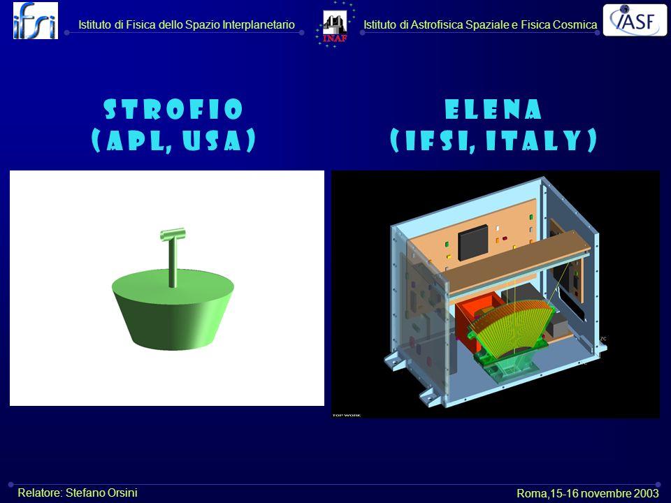 E L E N A ( I F S I, I t a l y ) S T R O F I O ( A P L, U S A ) Istituto di Astrofisica Spaziale e Fisica CosmicaIstituto di Fisica dello Spazio Interplanetario Roma,15-16 novembre 2003 Relatore: Stefano Orsini