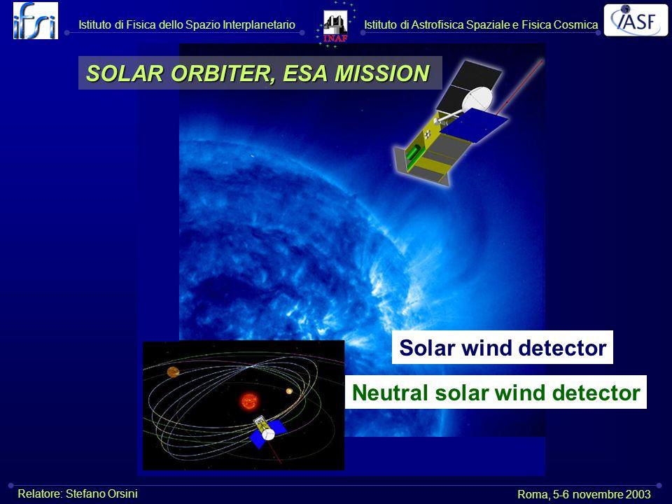 Istituto di Astrofisica Spaziale e Fisica CosmicaIstituto di Fisica dello Spazio Interplanetario Roma, 5-6 novembre 2003 Relatore: Stefano Orsini Solar wind detector Neutral solar wind detector SOLAR ORBITER, ESA MISSION