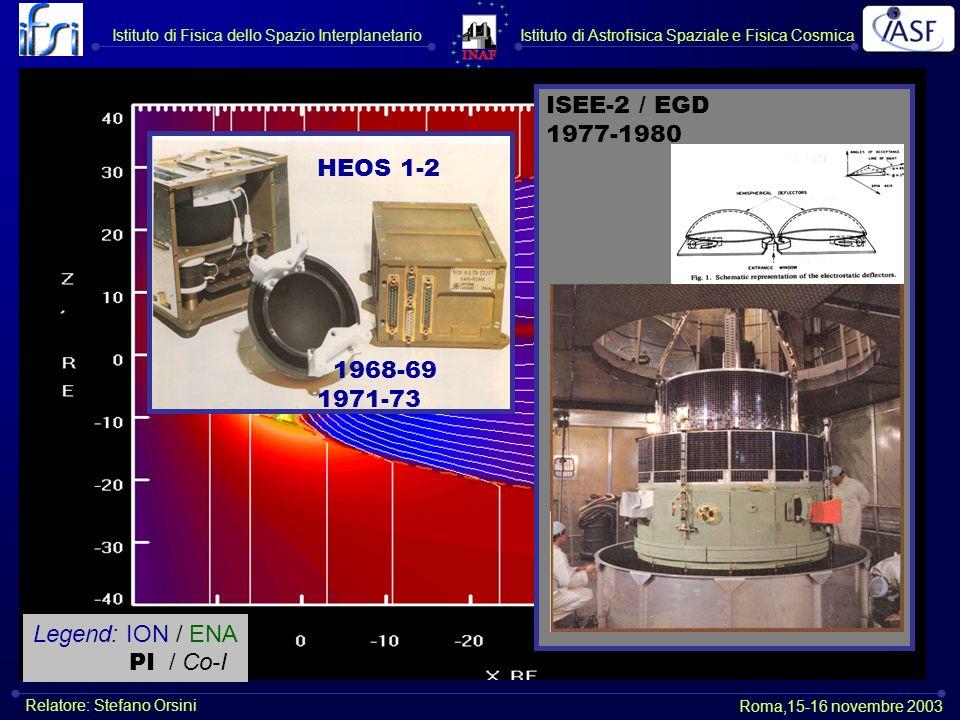 HEOS 1-2 1968-69 1971-73 ISEE-2 / EGD 1977-1980 Legend: ION / ENA PI / Co-I Istituto di Astrofisica Spaziale e Fisica CosmicaIstituto di Fisica dello Spazio Interplanetario Roma,15-16 novembre 2003 Relatore: Stefano Orsini