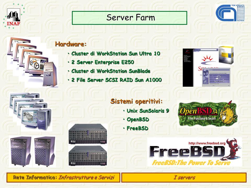 Server Farm Server Farm E 500 Hardware: Cluster di WorkStation Sun Ultra 10 Cluster di WorkStation Sun Ultra 10 2 Server Enterprise E250 2 Server Ente