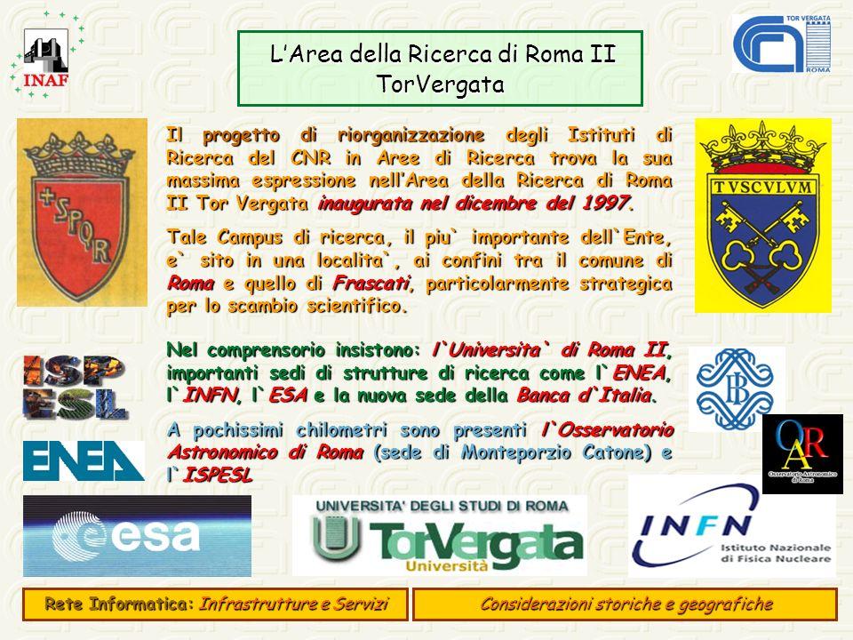 LArea della Ricerca di Roma II TorVergata LArea della Ricerca di Roma II TorVergata Rete Informatica:Infrastrutture e Servizi Rete Informatica: Infras