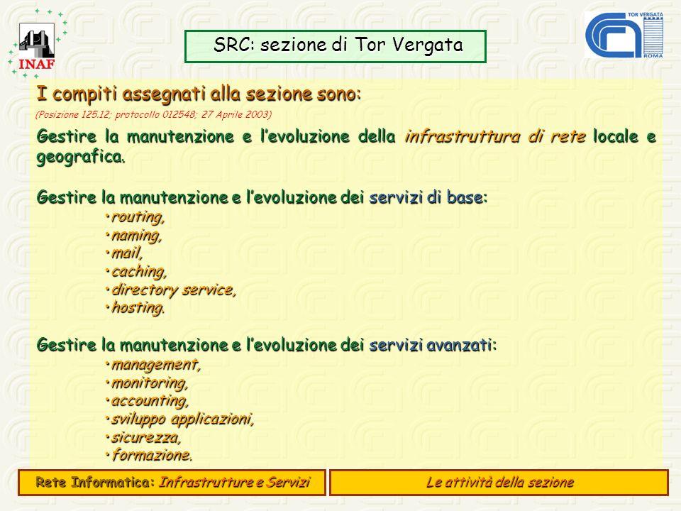 SRC: sezione di Tor Vergata SRC: sezione di Tor Vergata Rete Informatica:Infrastrutture e Servizi Rete Informatica: Infrastrutture e Servizi Le attivi