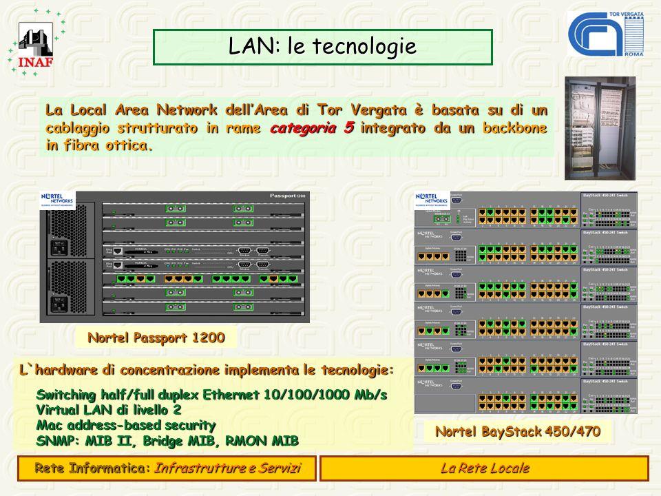 LAN: le tecnologie La Local Area Network dellArea di Tor Vergata è basata su di un cablaggio strutturato in rame categoria 5 integrato da un backbone