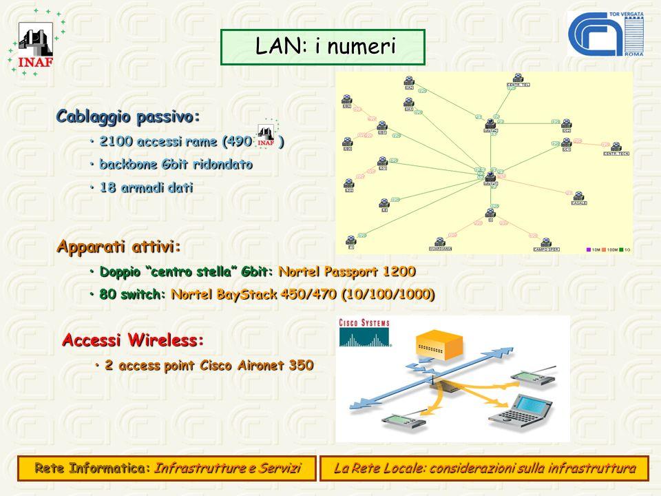 LAN: i numeri LAN: i numeri Cablaggio passivo: 2100 accessi rame (490 ) 2100 accessi rame (490 ) backbone Gbit ridondato backbone Gbit ridondato 18 ar