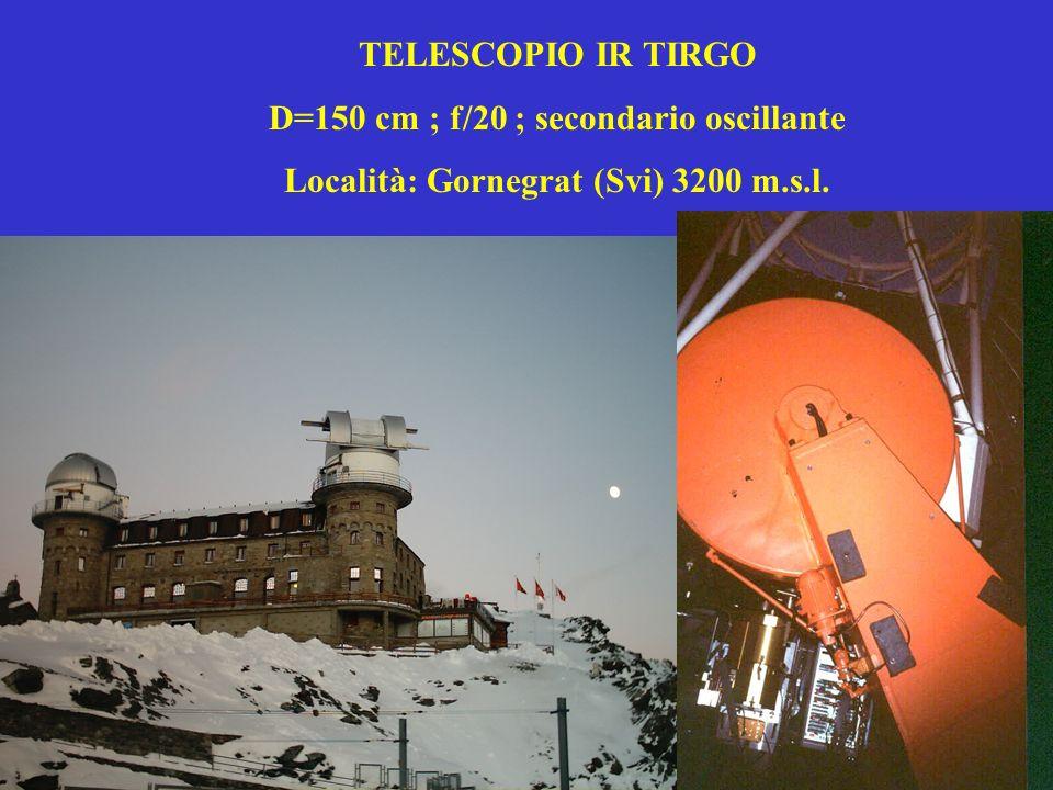 TELESCOPIO IR TIRGO D=150 cm ; f/20 ; secondario oscillante Località: Gornegrat (Svi) 3200 m.s.l.