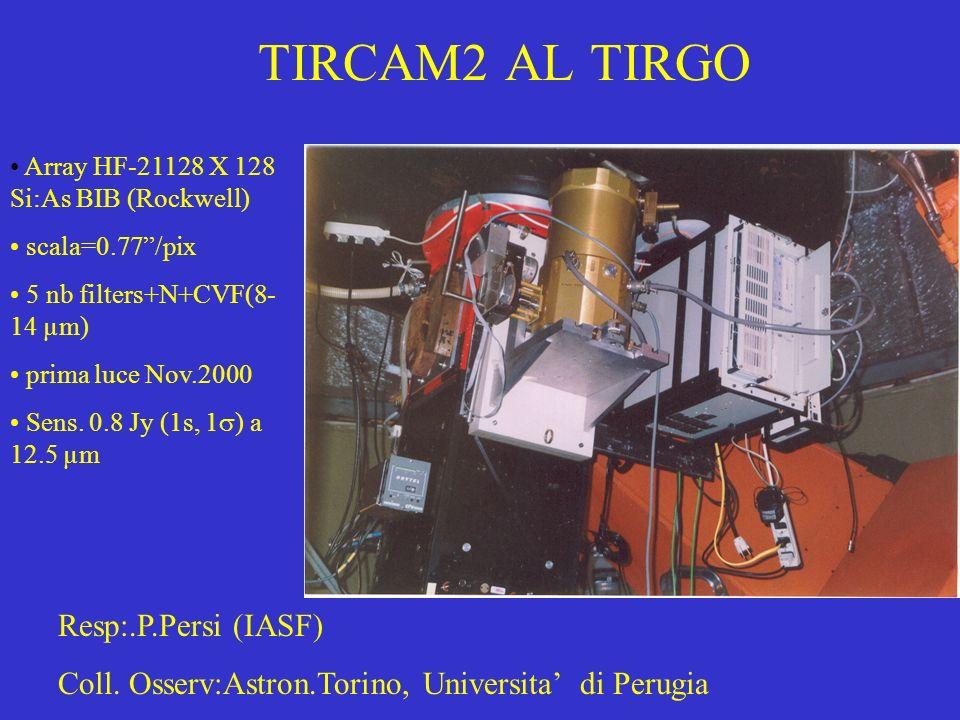 TIRCAM2 AL TIRGO Array HF-21128 X 128 Si:As BIB (Rockwell) scala=0.77/pix 5 nb filters+N+CVF(8- 14 µm) prima luce Nov.2000 Sens. 0.8 Jy (1s, 1 ) a 12.