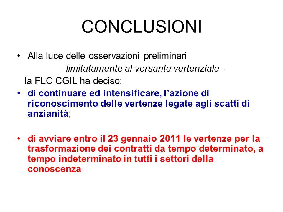 CONCLUSIONI Alla luce delle osservazioni preliminari – limitatamente al versante vertenziale - la FLC CGIL ha deciso: di continuare ed intensificare,