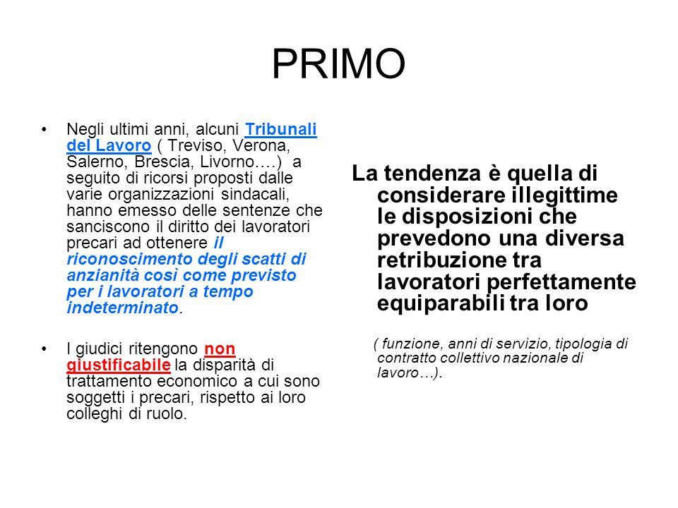 PRIMO Negli ultimi anni, alcuni Tribunali del Lavoro ( Treviso, Verona, Salerno, Brescia, Livorno….) a seguito di ricorsi proposti dalle varie organiz