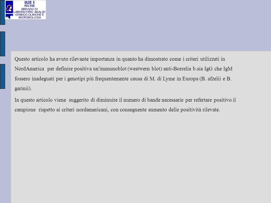 Western blot per ricerca positività IgG anti Borrelia b.