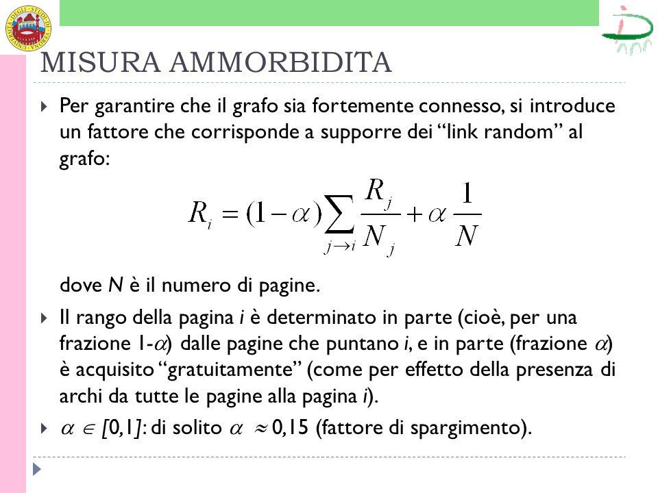 MISURA AMMORBIDITA Per garantire che il grafo sia fortemente connesso, si introduce un fattore che corrisponde a supporre dei link random al grafo: dove N è il numero di pagine.
