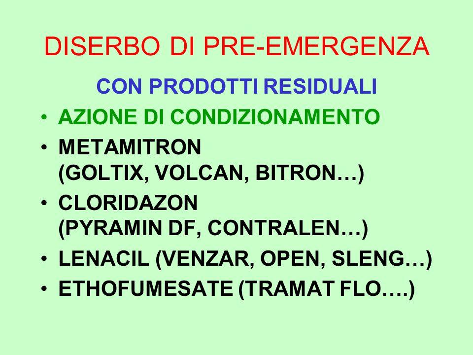 DISERBO DI PRE-EMERGENZA CON PRODOTTI RESIDUALI AZIONE DI CONDIZIONAMENTO METAMITRON (GOLTIX, VOLCAN, BITRON…) CLORIDAZON (PYRAMIN DF, CONTRALEN…) LEN