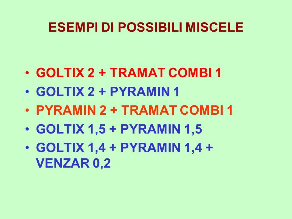 ESEMPI DI POSSIBILI MISCELE GOLTIX 2 + TRAMAT COMBI 1 GOLTIX 2 + PYRAMIN 1 PYRAMIN 2 + TRAMAT COMBI 1 GOLTIX 1,5 + PYRAMIN 1,5 GOLTIX 1,4 + PYRAMIN 1,