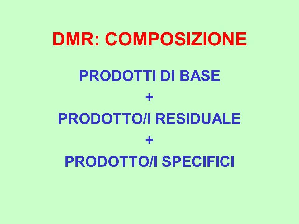 DMR: COMPOSIZIONE PRODOTTI DI BASE + PRODOTTO/I RESIDUALE + PRODOTTO/I SPECIFICI