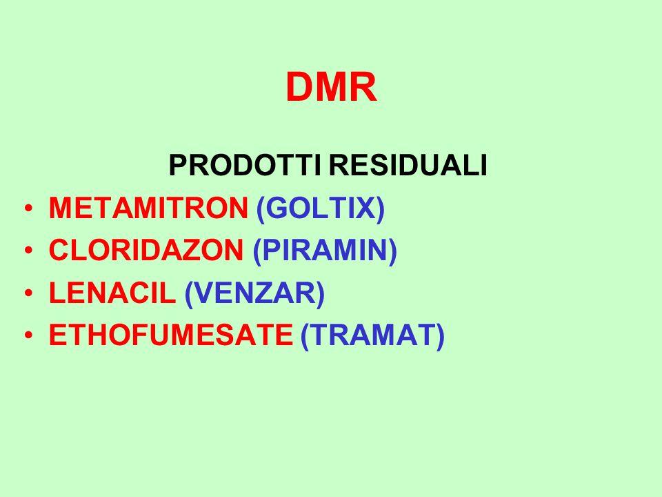 DMR PRODOTTI RESIDUALI METAMITRON (GOLTIX) CLORIDAZON (PIRAMIN) LENACIL (VENZAR) ETHOFUMESATE (TRAMAT)