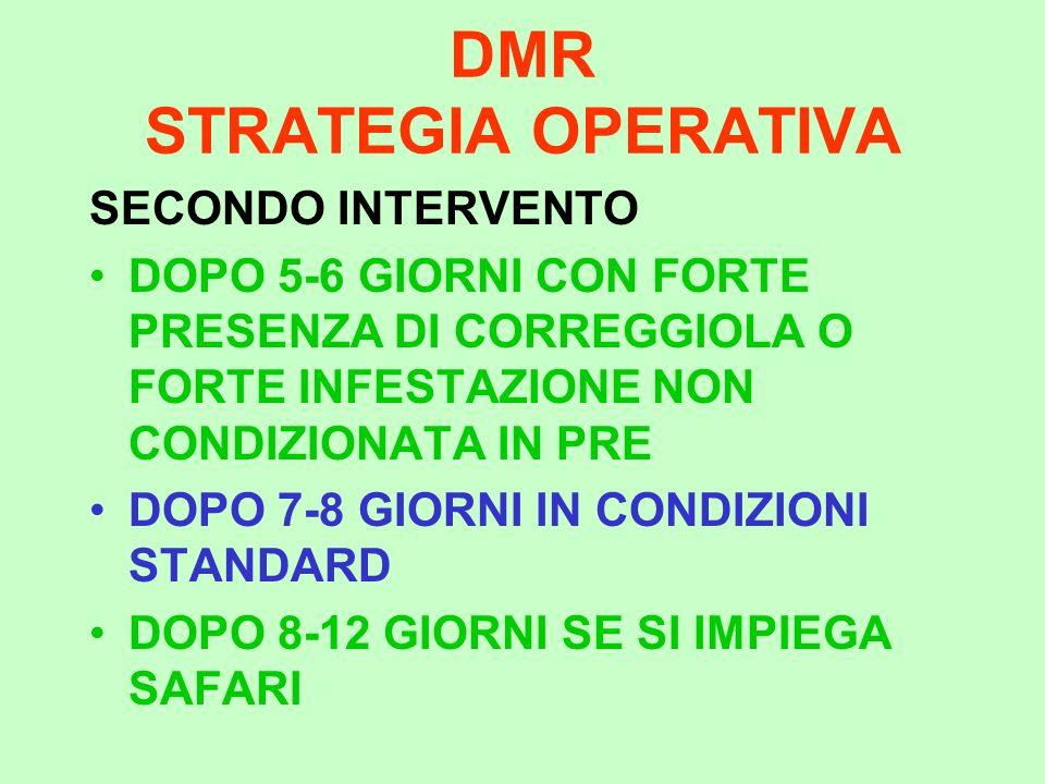 DMR STRATEGIA OPERATIVA SECONDO INTERVENTO DOPO 5-6 GIORNI CON FORTE PRESENZA DI CORREGGIOLA O FORTE INFESTAZIONE NON CONDIZIONATA IN PRE DOPO 7-8 GIO