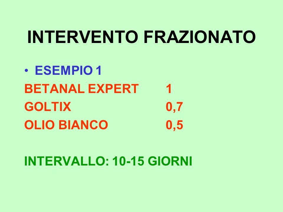 INTERVENTO FRAZIONATO ESEMPIO 1 BETANAL EXPERT1 GOLTIX0,7 OLIO BIANCO0,5 INTERVALLO: 10-15 GIORNI