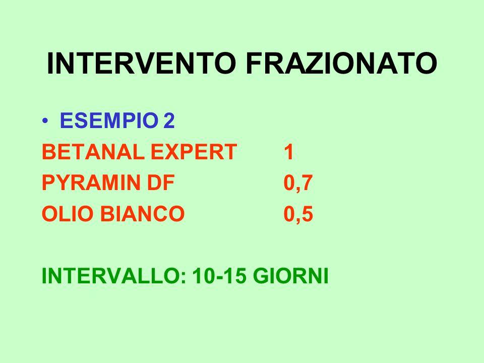 INTERVENTO FRAZIONATO ESEMPIO 2 BETANAL EXPERT1 PYRAMIN DF0,7 OLIO BIANCO0,5 INTERVALLO: 10-15 GIORNI