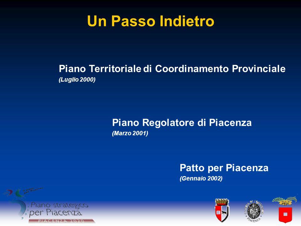 Un Passo Indietro Piano Territoriale di Coordinamento Provinciale (Luglio 2000) Piano Regolatore di Piacenza (Marzo 2001) Patto per Piacenza (Gennaio