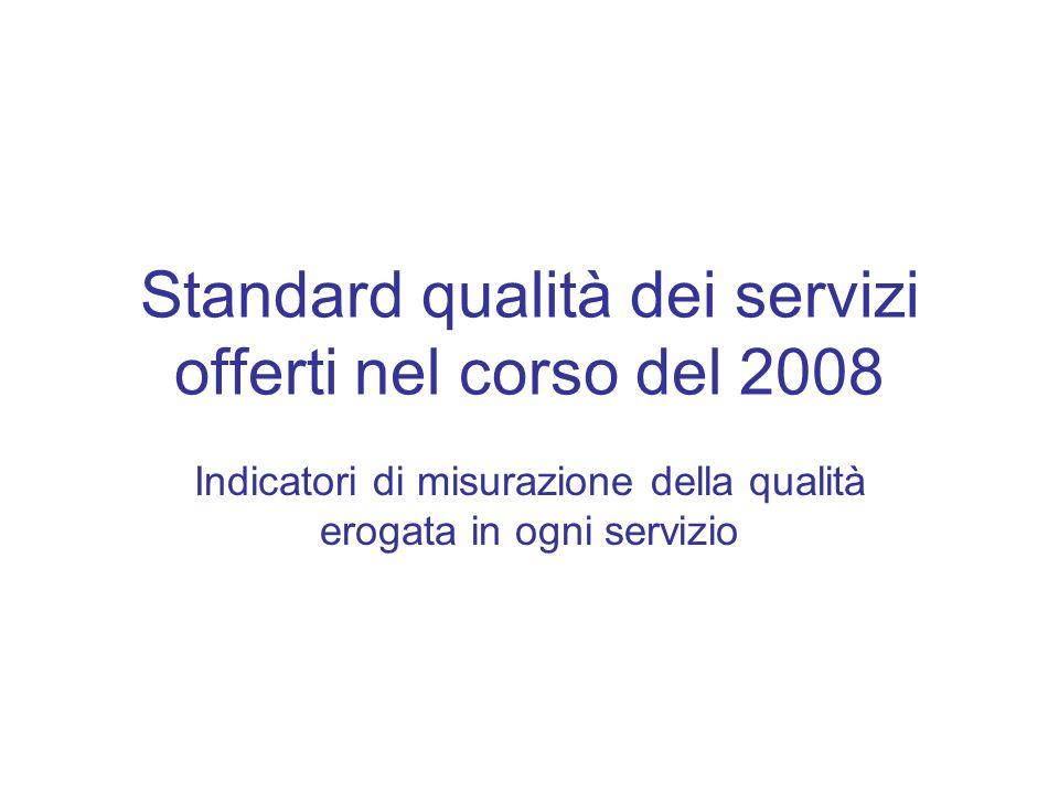 Standard qualità dei servizi offerti nel corso del 2008 Indicatori di misurazione della qualità erogata in ogni servizio