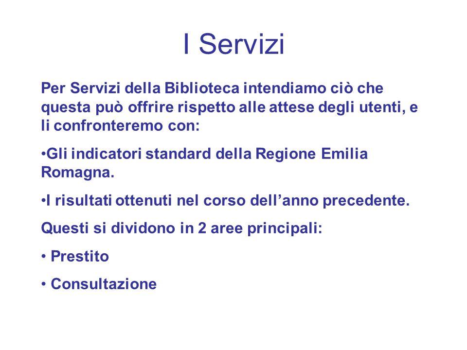 I Servizi Per Servizi della Biblioteca intendiamo ciò che questa può offrire rispetto alle attese degli utenti, e li confronteremo con: Gli indicatori standard della Regione Emilia Romagna.
