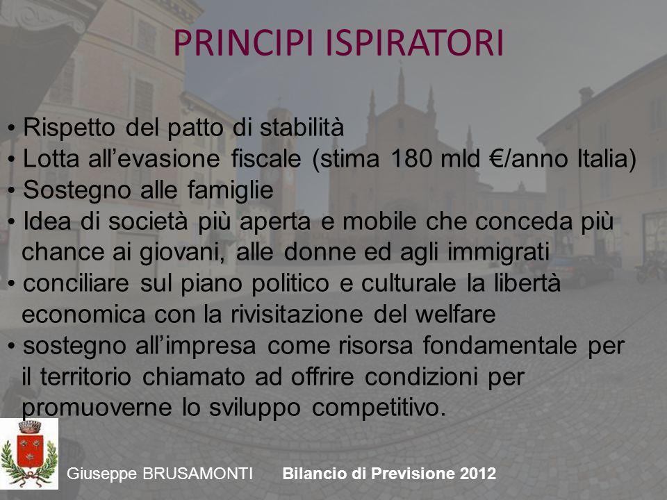 Giuseppe BRUSAMONTIBilancio di Previsione 2012 Dopo i tagli indiscriminati, bisogna tornare ad investire in conoscenza, bellezza, ricerca e scuola.