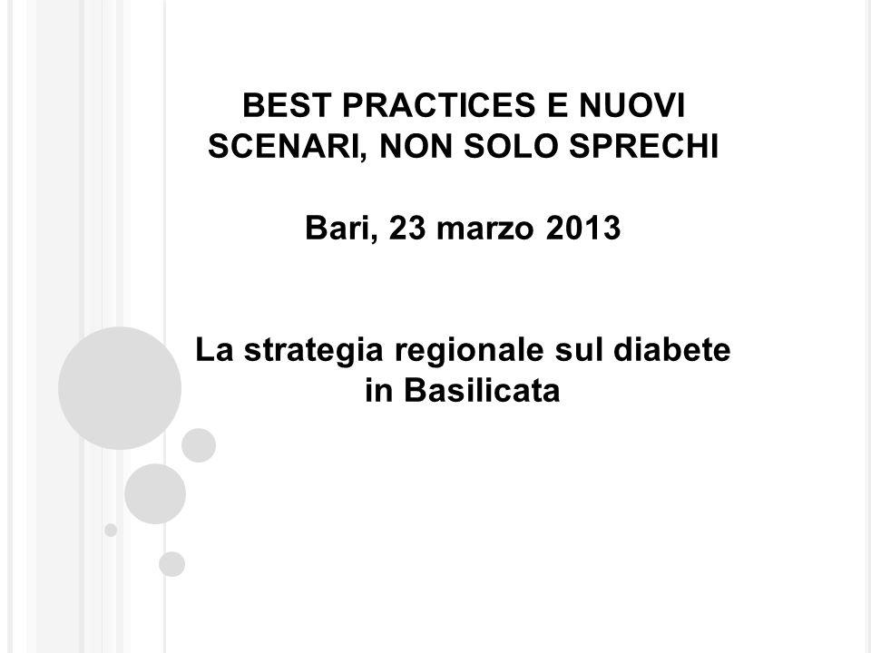 BEST PRACTICES E NUOVI SCENARI, NON SOLO SPRECHI Bari, 23 marzo 2013 La strategia regionale sul diabete in Basilicata