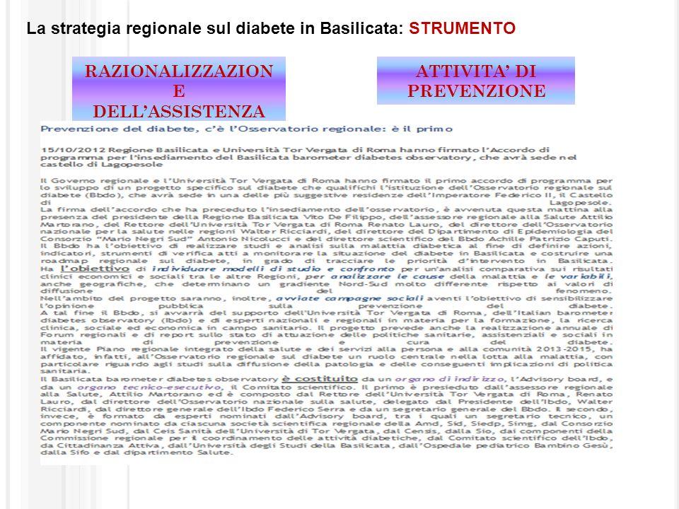 La strategia regionale sul diabete in Basilicata: STRUMENTO ATTIVITA DI PREVENZIONE RAZIONALIZZAZION E DELLASSISTENZA