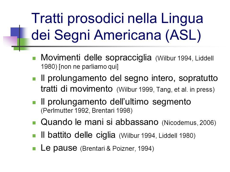 Tratti prosodici nella Lingua dei Segni Americana (ASL) Movimenti delle sopracciglia (Wilbur 1994, Liddell 1980) [non ne parliamo qui] Il prolungament