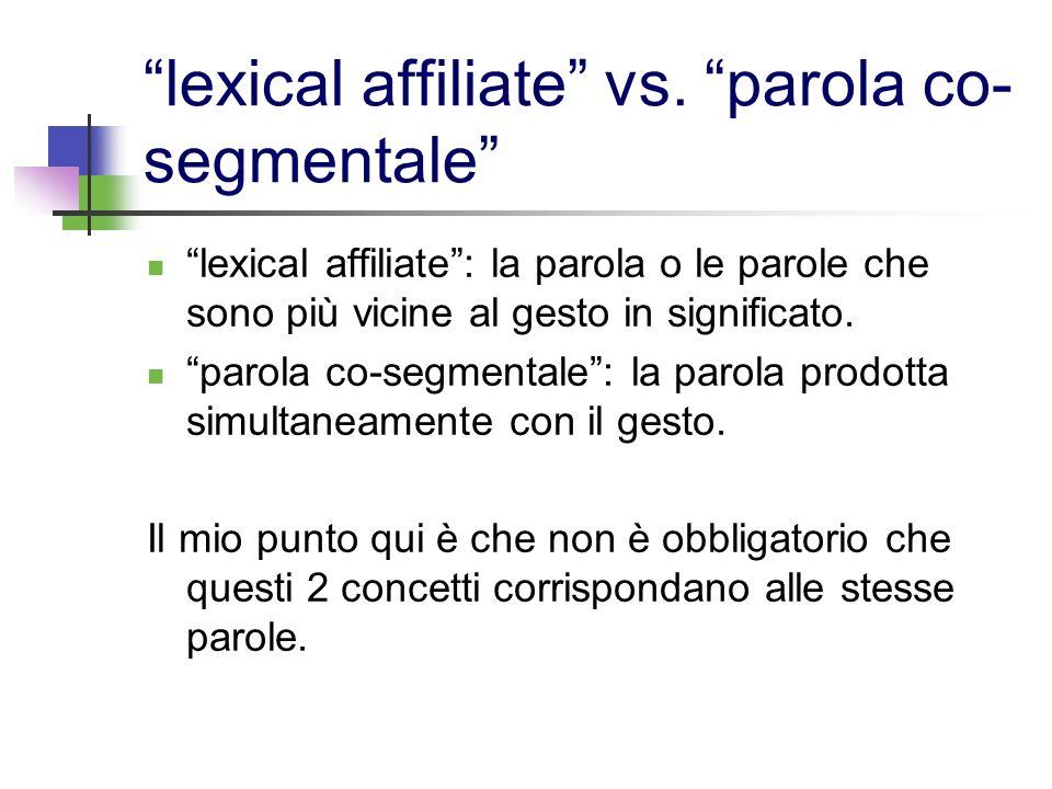 lexical affiliate vs. parola co- segmentale lexical affiliate: la parola o le parole che sono più vicine al gesto in significato. parola co-segmentale