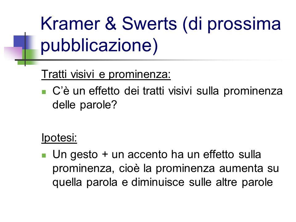 Kramer & Swerts (di prossima pubblicazione) Tratti visivi e prominenza: Cè un effetto dei tratti visivi sulla prominenza delle parole? Ipotesi: Un ges