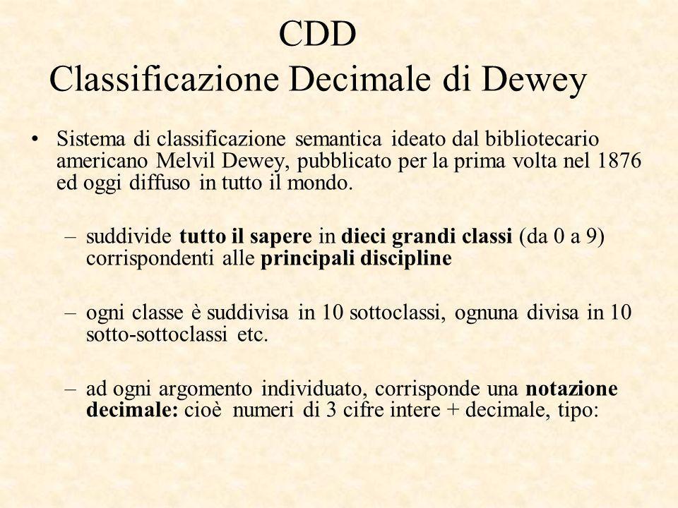 CDD Classificazione Decimale di Dewey Sistema di classificazione semantica ideato dal bibliotecario americano Melvil Dewey, pubblicato per la prima volta nel 1876 ed oggi diffuso in tutto il mondo.