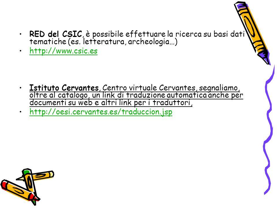 RED del CSIC, è possibile effettuare la ricerca su basi dati tematiche (es.