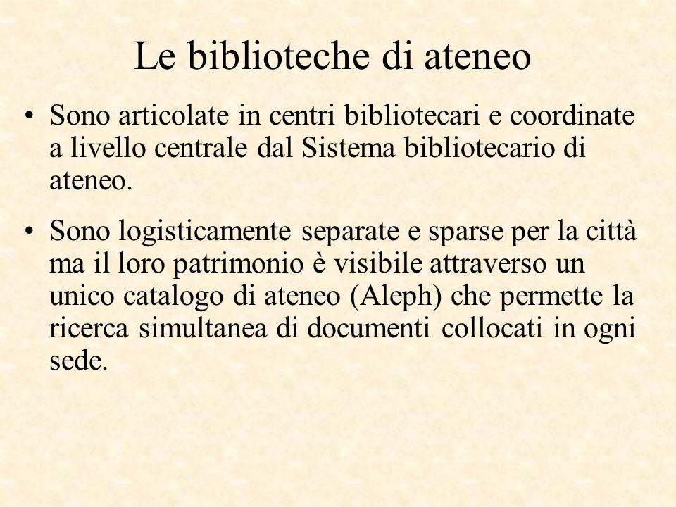 Le biblioteche di ateneo Sono articolate in centri bibliotecari e coordinate a livello centrale dal Sistema bibliotecario di ateneo. Sono logisticamen