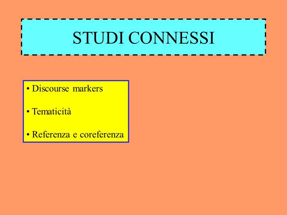 STUDI CONNESSI Discourse markers Tematicità Referenza e coreferenza
