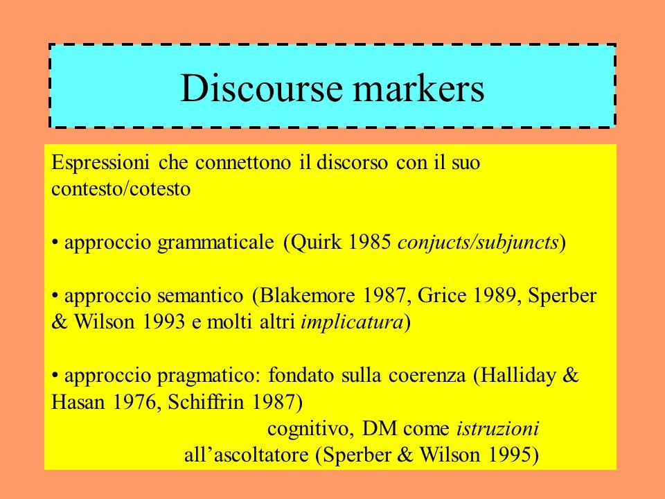 Discourse markers Espressioni che connettono il discorso con il suo contesto/cotesto approccio grammaticale (Quirk 1985 conjucts/subjuncts) approccio semantico (Blakemore 1987, Grice 1989, Sperber & Wilson 1993 e molti altri implicatura) approccio pragmatico: fondato sulla coerenza (Halliday & Hasan 1976, Schiffrin 1987) cognitivo, DM come istruzioni allascoltatore (Sperber & Wilson 1995)