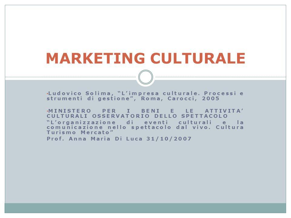 Ludovico Solima, Limpresa culturale. Processi e strumenti di gestione, Roma, Carocci, 2005 MINISTERO PER I BENI E LE ATTIVITA CULTURALI OSSERVATORIO D