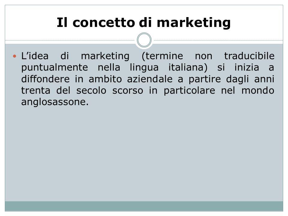 Il concetto di marketing Lidea di marketing (termine non traducibile puntualmente nella lingua italiana) si inizia a diffondere in ambito aziendale a