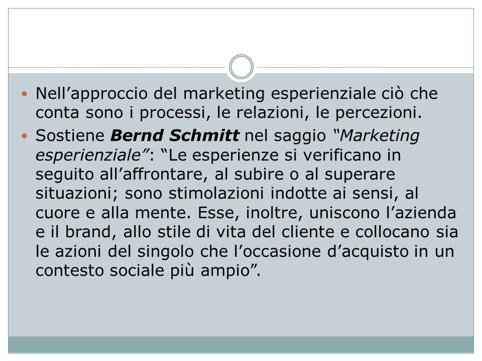 Nellapproccio del marketing esperienziale ciò che conta sono i processi, le relazioni, le percezioni. Sostiene Bernd Schmitt nel saggio Marketing espe