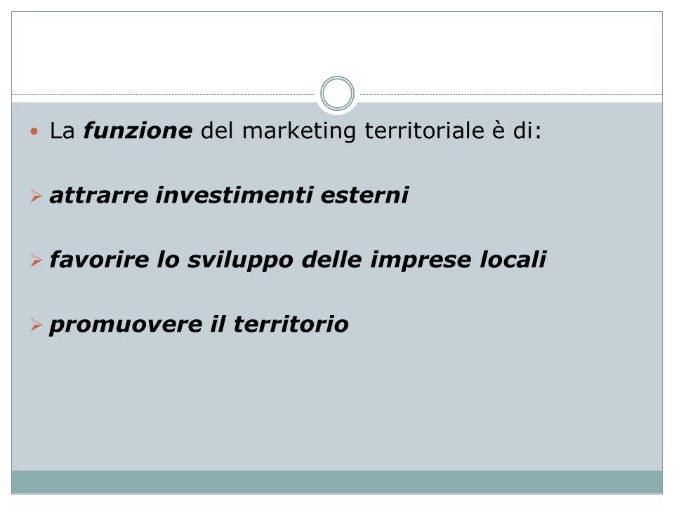 La funzione del marketing territoriale è di: attrarre investimenti esterni favorire lo sviluppo delle imprese locali promuovere il territorio