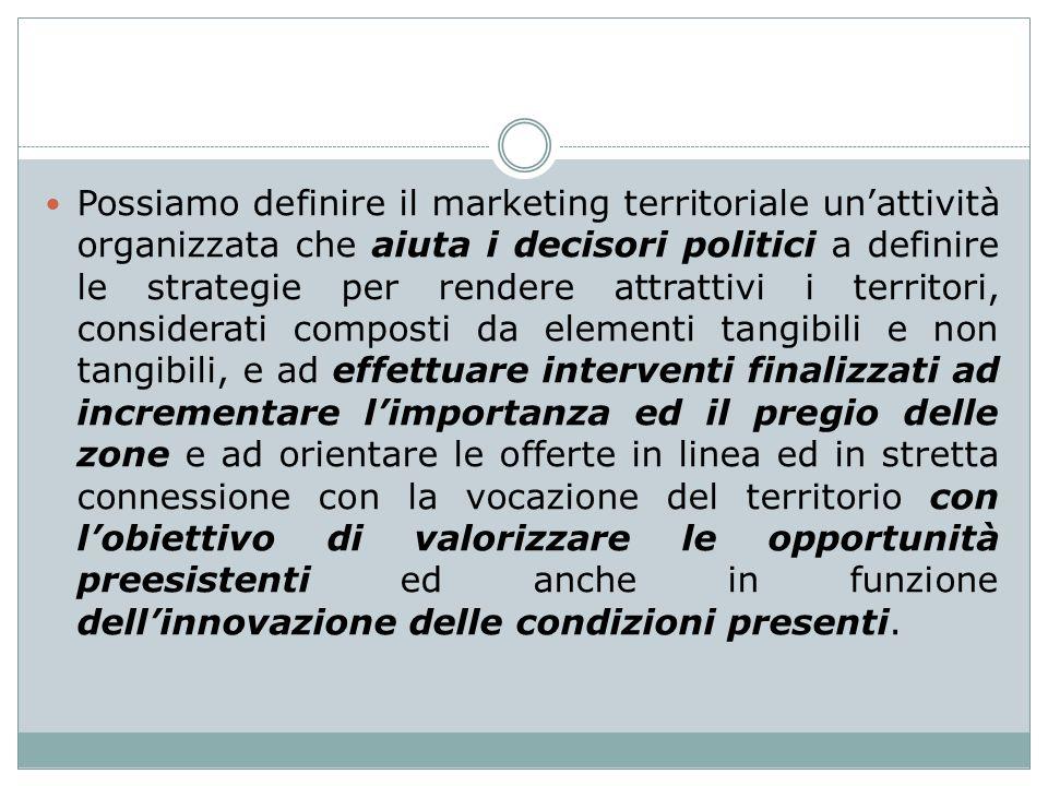 Possiamo definire il marketing territoriale unattività organizzata che aiuta i decisori politici a definire le strategie per rendere attrattivi i ter